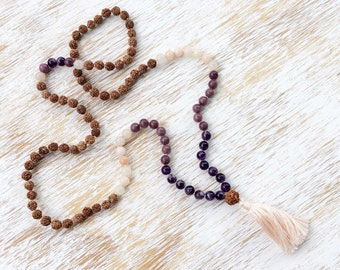 Mala Necklace, Mala Beads 108, Rudraksha Mala, 108 Mala Beads Necklace, Amethyst Lepidolite Aventurine Gemstone Mala, 108 Mala, Prayer Beads