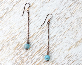 Apatite Earrings, Dangle Earrings, Earrings Handmade, Duster Earrings, Long Earrings, Copper Earrings, Apatite Jewelry, Healing Jewelry