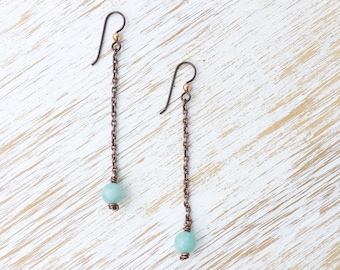 Amazonite Earrings, Dangle Earrings, Earrings Handmade, Chain Earrings, Long Earrings, Copper Earrings, Amazonite Jewelry, Healing Jewelry