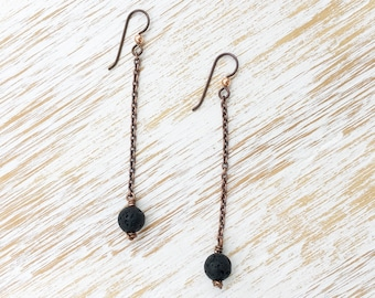 Lava Stone Earrings, Dangle Earrings, Earrings Handmade, Chain Earrings, Long Earrings, Copper Earrings, Lava Stone Jewelry, Healing Jewelry