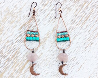 Moonstone Moon Earrings, Turquoise Boho Earrings, OOAK Hypoallergenic Niobium Earrings, Copper Earrings, Goddess Earrings, Beaded Earrings