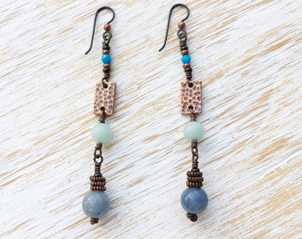 Aventurine Amazonite Earrings, Long Earrings, Dangle Earrings, Hypoallergenic Earrings, Niobium Earrings, Amazonite Jewelry, Boho Jewelry