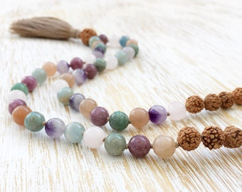 Mala Beads, Mala Necklace, Rudraksha Mala, 108 Mala Beads Necklace, Gemstone Mala: Moonstone Lepidolite Jade Amethyst Rose Quartz Aquamarine
