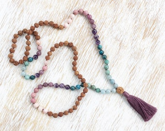 Mala Necklace, Mala Beads 108, Rudraksha Mala, Mala Beads Necklace, Opal Rhodonite Lepidolite Amethyst Apatite Jade Aquamarine Gemstone Mala