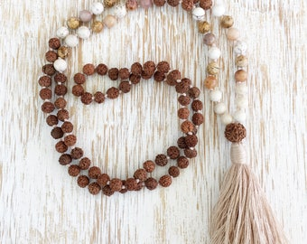 Mala Beads, Magnesite Agate Jasper Riverstone, Rudraksha Mala, White Mala Necklace, 108 Mala Bead, Mala Bead Necklace, Buddhist Jewelry