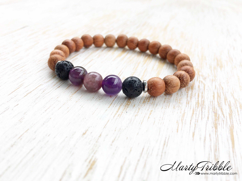 Lava Stone Bracelet, Amethyst Bracelet, Lepidolite Bracelet, Wood Bracelet,  Healing Crystal Bracelet, Gemstone Bracelet, Stone Bracelet
