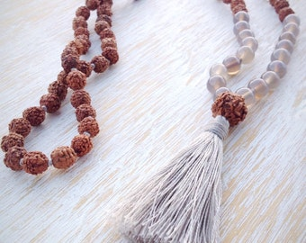LAST ONE! Agate Rudraksha Mala, Mala Beads 108, Mala Necklace, Mala Bead Necklace, Gemstone Mala, Buddhist Mala Beads, Mala Beads 108