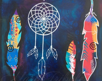 Feather Painting, Dream Catcher Art, Native American Painting, Housewarming Gift, Original Painting, Wall Hanging, Home Decor Tribal Artwork