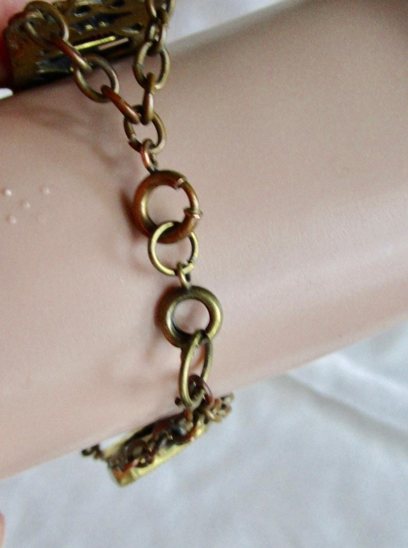purple splendor brass chain .. birthday gift Neiger stylecabochons luscious amethyst glass and white enamel art deco nouveau bracelet ..