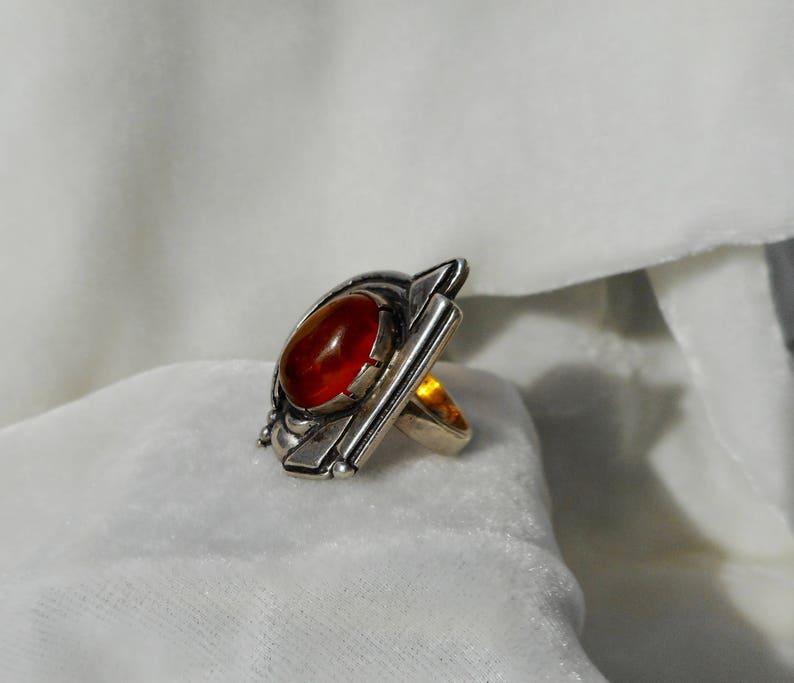 OOAK avant-garde boho western amber ring in modernist silver setting .. a marvel of engineering at size 6 vintage artisanal ..