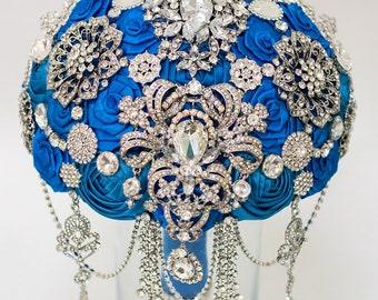 Brooch Bouquet, Blue Fabric Bouquet, Unique Wedding Bridal Bouquet