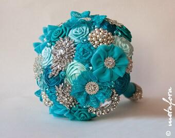 Brooch bouquet, turquoise Fabric Wedding Bouquet, Unique Fabric Flower Bridal Bouquet