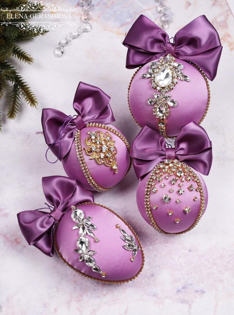 Handmade balls in gift box Christmas rhinestones ornaments Tree decor set Xmas decorations Lilac Purple baubles
