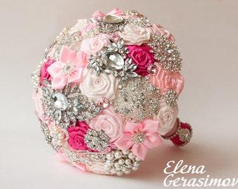 Brooch Bouquet. Pink Fabric Bouquet, Unique Wedding Bridal Bouquet
