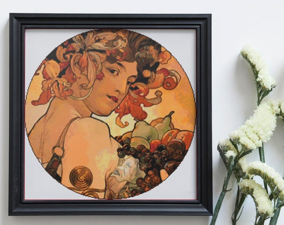 Cross Stitch Pdf Chart Pattern Art Nouveau In The Round Alphonse Mucha Fruit Whole Stitches Only Circular X Stitch Instant Download