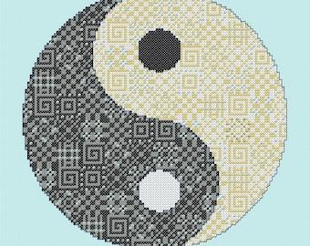 Yin and Yang Cross Stitch Chart PDF Pattern Whole Stitches Instant Download Meditation Spiritual Chinese Needlework