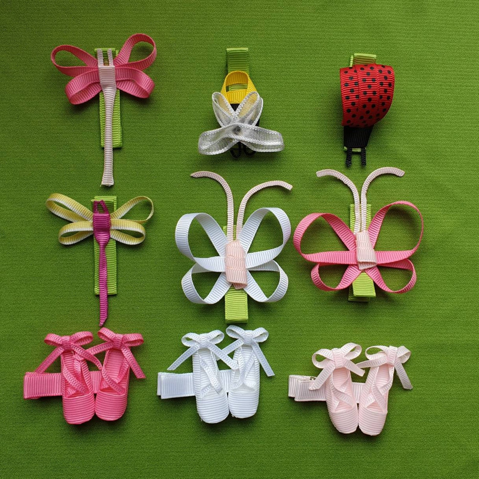 ribbon sculpture hair clip ladybird/ bumble bee/ dance shoes/ ballet shoes/ dragonfly/ butterfly