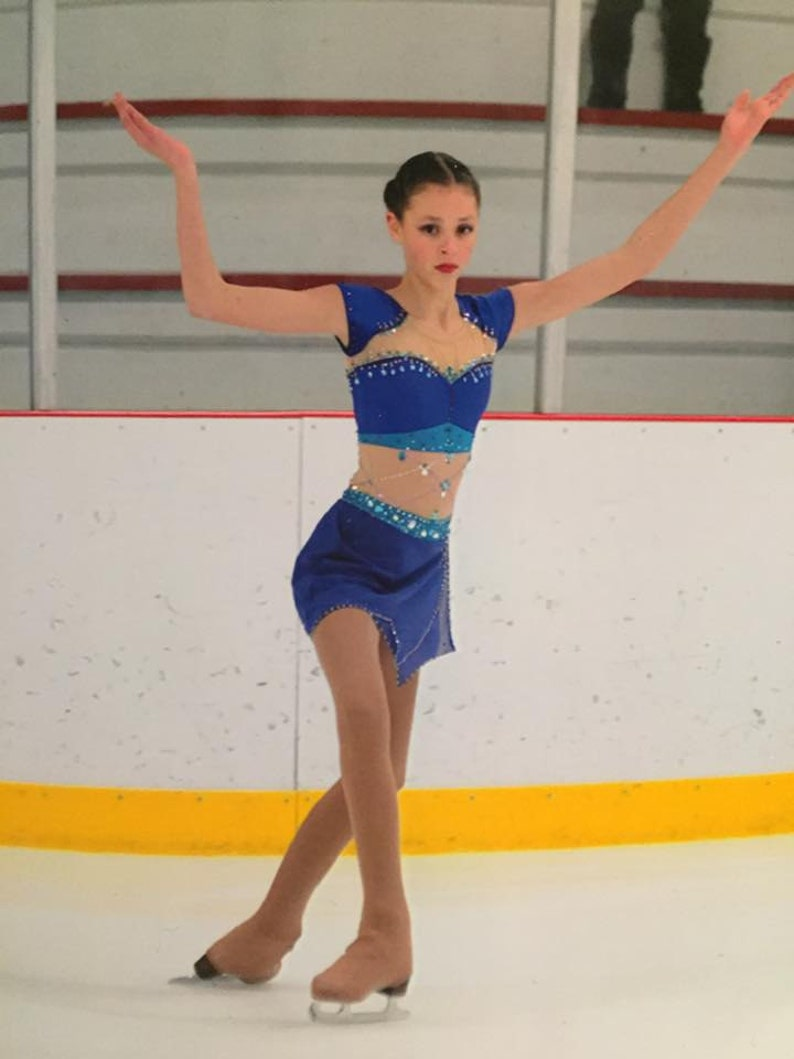 Sporting Goods Competition Ready Ice Figure Skating Dress With Decorations 8-9 Yrs