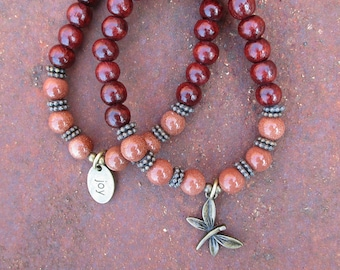 Boho Stacking Wood and Goldstone Stretch Bracelets - JOY and Dragonfly Charm Stackable Bracelet Set of 2
