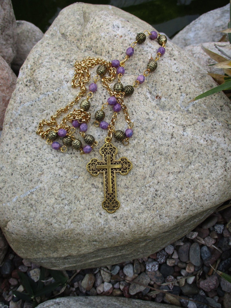 GOLDEN Finish Rosary beads cross necklace In Golden Cross Tone Necklace