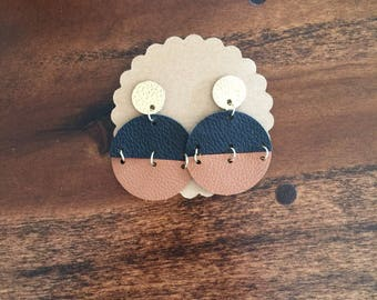 Split Disc Leather Earrings