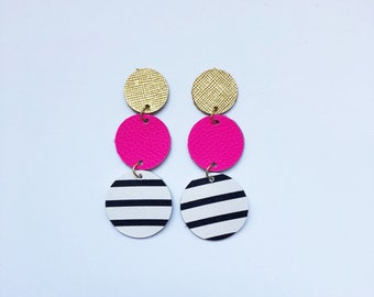 Retro Mix Layered Disc Leather Earrings
