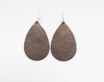 Pewter leather earrings