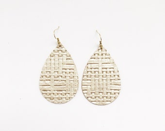 Woven Champagne leather earrings