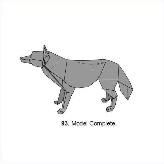 Origami Wolf Diagrams Etsy