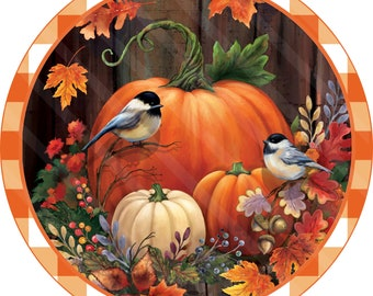 Fall Sign Printable Sublimation Graphic, Wall Art, Pumpkins Fall Leaves Birds, 2 Styles, Digital Download, Jpeg and Png Files, YOU PRINT