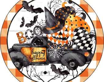 Halloween Sign Printable Sublimation Graphic, Truck full of Pumpkins Spiders, Bats, Boo, Wall Art, Door Hanger, Jpeg and Png File, YOU PRINT