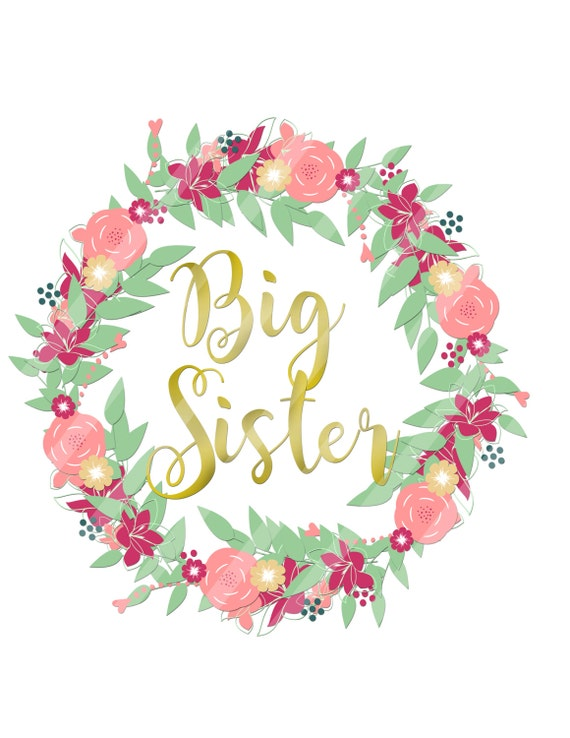 DIY heat transfer YOU PRINT Tags Signs Cards Scrapbooking Big Sister Little Sister 2 Digital Downloads for creating iron-ons