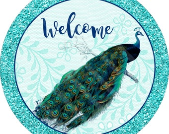 Peacock Printable, Sublimation Graphic, Door Hanger, Aqua, Teal, Blue Peacock, Welcome Sign Graphic,  Round, JPEG & Png files, YOU PRINT
