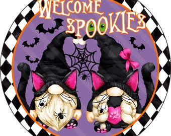 Halloween Sign Printable Sublimation Graphic, Black Cat Gnomes, Welcome Spookies, Wall Art, Door Hanger, Jpeg and Png File, YOU PRINT