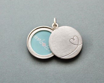 modern love locket for one picture in sterling silver