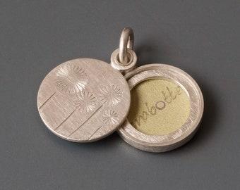 handmade round photo locket with delicate dandelions
