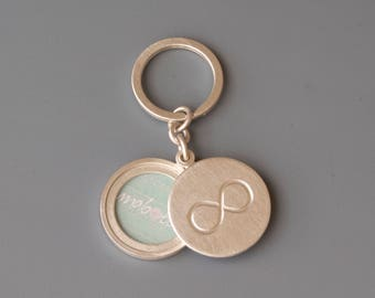 sterling silver keychain locket with infinity sign - solid keyring photo locket