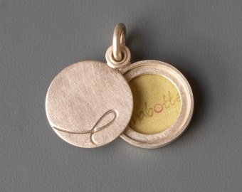 custom Initial locket for a small picture in Sterling Silver