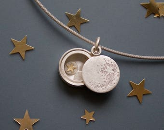 romantic sterling Silver locket with shooting star