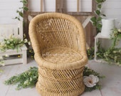 Bamboo wicker toddler peacock baby or kid chair, photo prop chair, 1 year boho session, bamboo chair photo prop
