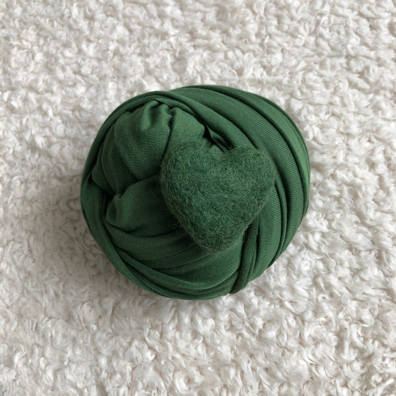 very soft and stretchy baby wrap set ships free Pine green soft stretch wrap /& felt heart set for newborn photography