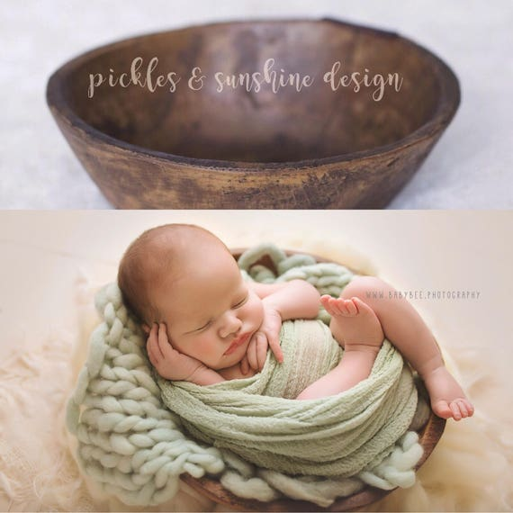 The perfect posing bowl for newborn photography vintage reproduction primitive dough bowl made from resin posing prop from picklesandsunshine on etsy