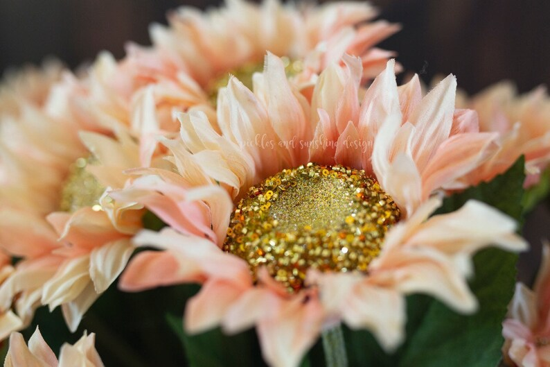 photo prop flowers Sparkly Pink oversized Sunflowers long stem pink and gold sunflower prop
