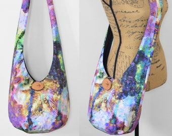 Floral Boho Purse Hobo Bag Cotton Crossbody Bag Fabric Hippie Purse Handmade Sling Bag Boho Bag Hobo Purse Hippie Bag Bohemian Purse