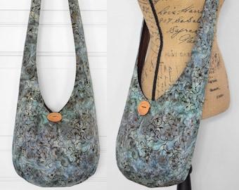 Batik Hobo Bag Blue Boho Purse Crossbody Bag Cotton Hippie Purse Handmade Sling Bag Fabric Hobo Purse Bohemian Purse Boho Bag Hippie Bag