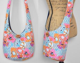 Poppies & Polka Dot Hobo Bag Crossbody Bag Floral Boho Bag Fabric Sling Bag Hippie Purse Cotton Bohemian Purse Boho Purse Hobo Purse