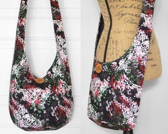 Floral Boho Bag Fabric Hobo Bag Crossbody Bag Cotton Hippie Purse Sling Bag Bohemian Purse Hobo Purse Handmade Hippie Bag Boho Purse
