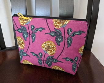 Zipper Pouch Quilted All Purpose Cosmetic Bag Pencil Case Makeup Bag Cosmetic Purse Toiletry Bag Pencil Pouch Fabric Medicine Pouch