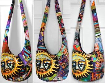 2ed4887584 Hobo Bag Crossbody Bag Sublime Boho Bag Patchwork Hippie Purse Crazy Quilt  Sling Bag Sublime Sun T-Shirt Festival Bag Bohemian Boho Purse