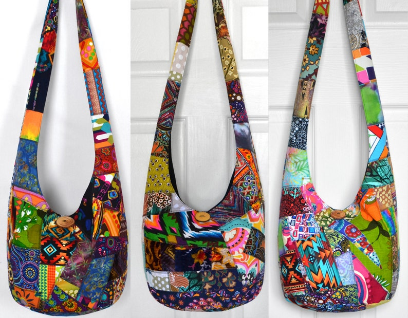 c83ef5c32e5d Hobo Bag Crossbody Bag Patchwork Boho Bag Crazy Quilt Hippie Purse Handmade  Boho Purse Cotton Bohemian Festival Purse Fabric Sling Bag